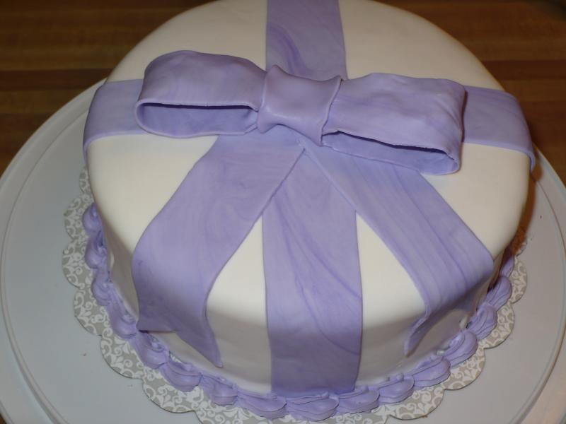 Fondant Cake w/Purple Bow