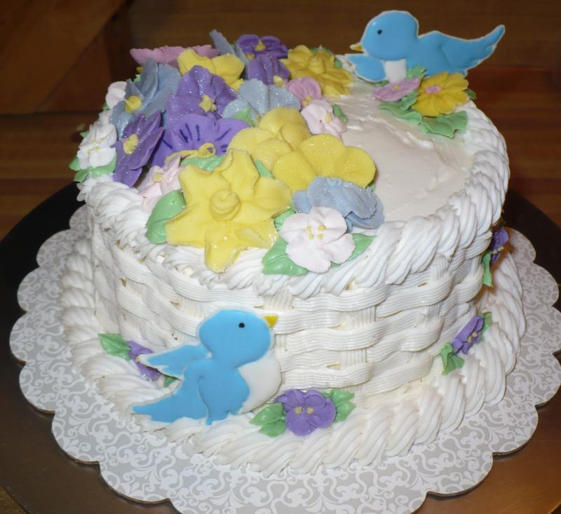 Garden Basketweave Cake w/Royal Icing Flowers