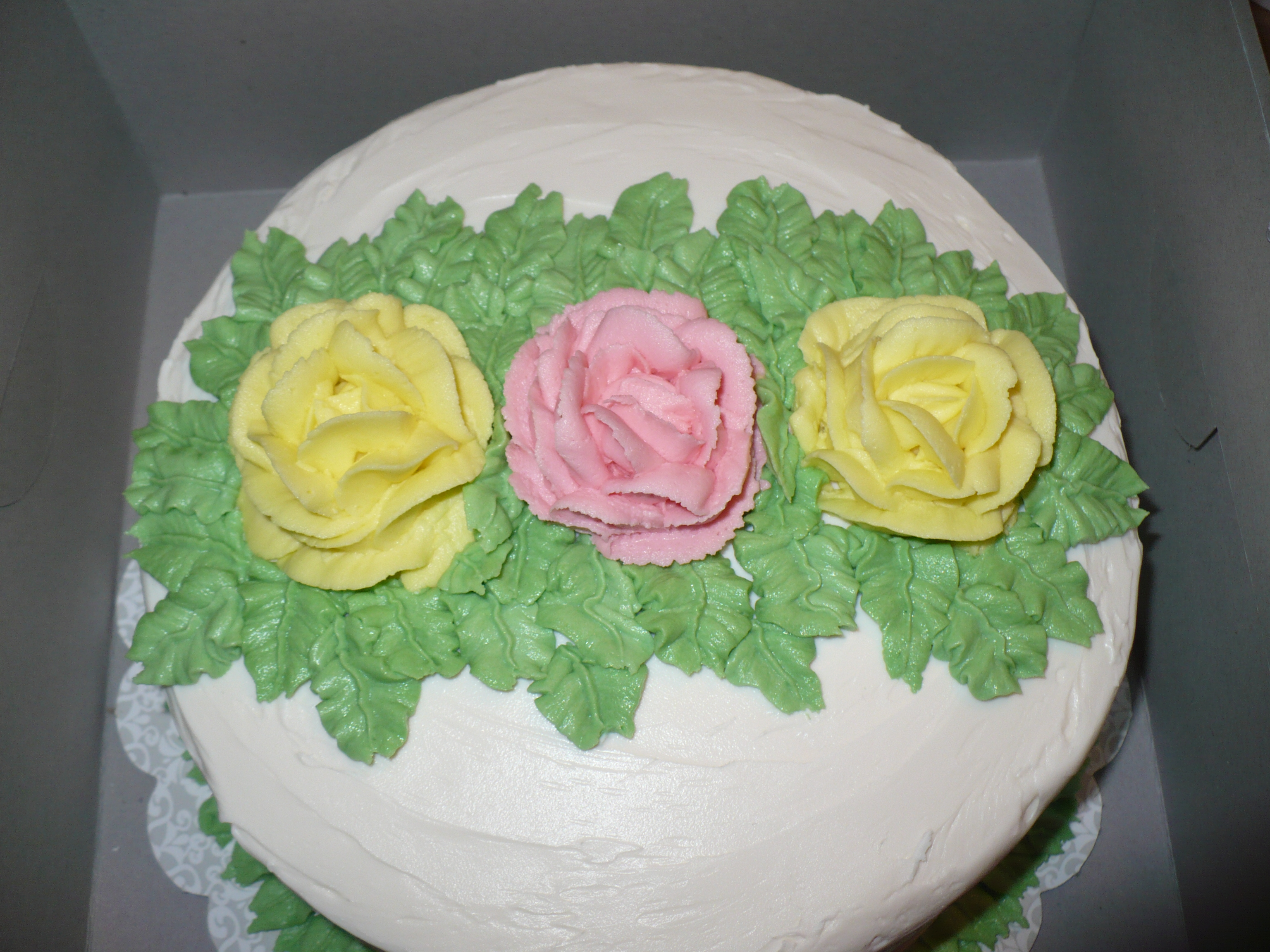 Yellow Cake With Large Roses